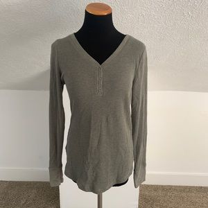 Olive Army Green Henley Tunic Long Sleeve